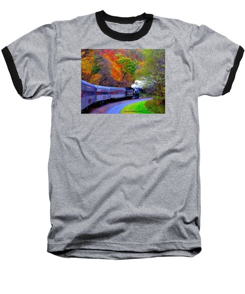Baseball T-Shirt featuring the painting Autumn Train by Bruce Nutting