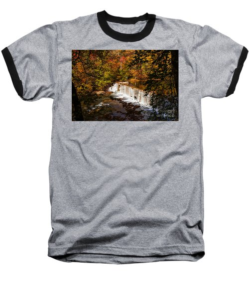 Autumn Trees On Duck River Baseball T-Shirt by Jerry Cowart