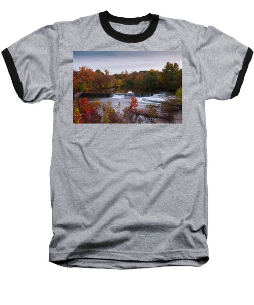 Baseball T-Shirt featuring the photograph Refreshing Waterfalls Autumn Trees On The Stones River Tennessee by Jerry Cowart
