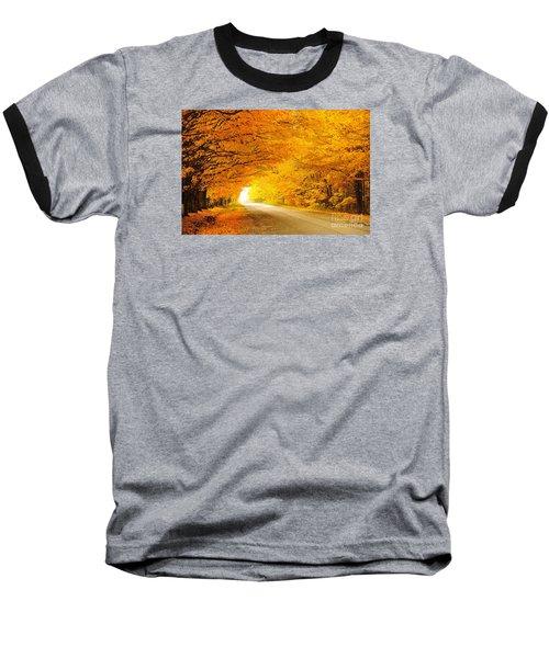 Autumn Tunnel Of Gold 8 Baseball T-Shirt by Terri Gostola