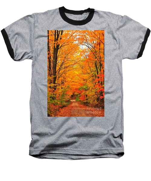 Baseball T-Shirt featuring the photograph Autumn Tunnel Of Trees by Terri Gostola