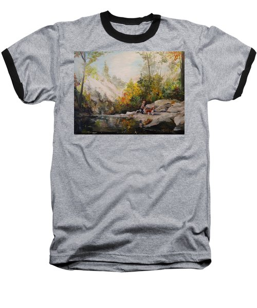 Baseball T-Shirt featuring the painting Autumn Walk by Alan Lakin