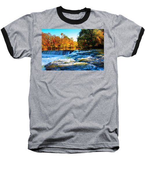 Amazing Autumn Flowing Waterfalls On The River  Baseball T-Shirt