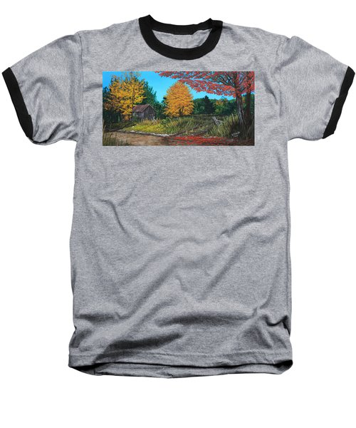Baseball T-Shirt featuring the painting Autumns Rustic Path by Wendy Shoults