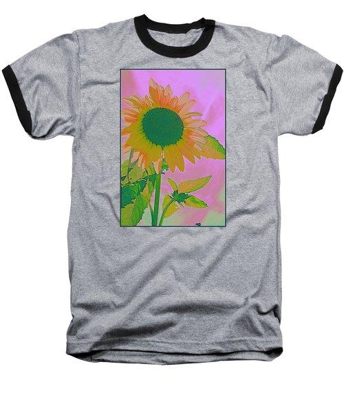 Autumn's Sunflower Pop Art Baseball T-Shirt by Dora Sofia Caputo Photographic Art and Design