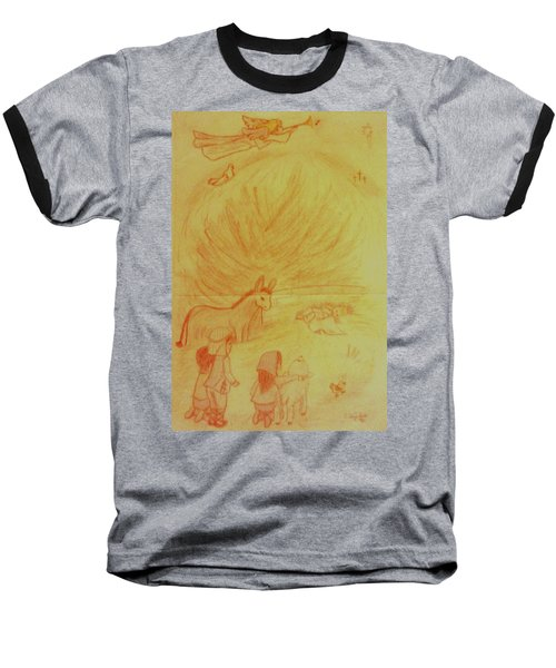 Away In A Manger Baseball T-Shirt by Christy Saunders Church
