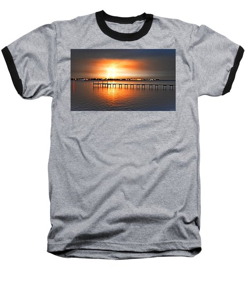 Awesome Lightning Electrical Storm On Sound Baseball T-Shirt by Jeff at JSJ Photography