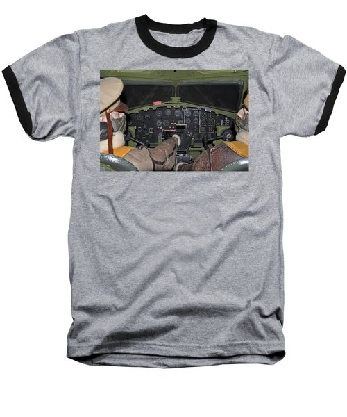 B-17 Bomber Cockpit Baseball T-Shirt