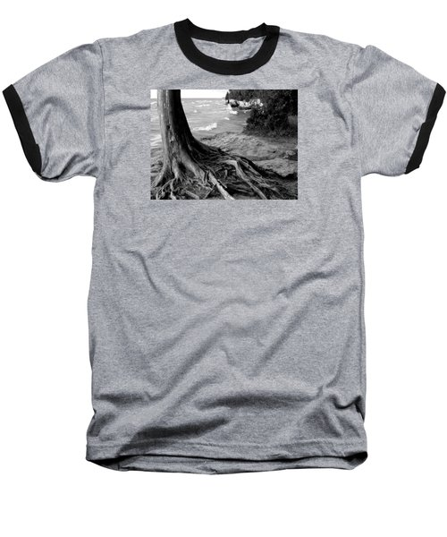 B And W Cedar Roots At Cave Point Baseball T-Shirt by David T Wilkinson