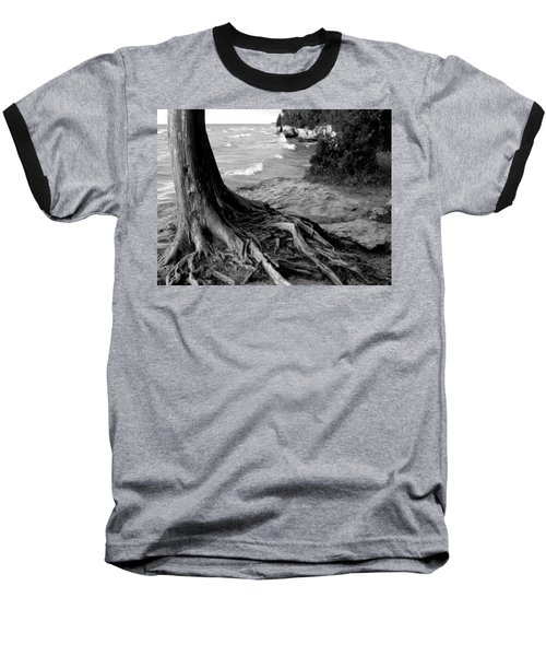 B And W Cedar Roots At Cave Point Baseball T-Shirt