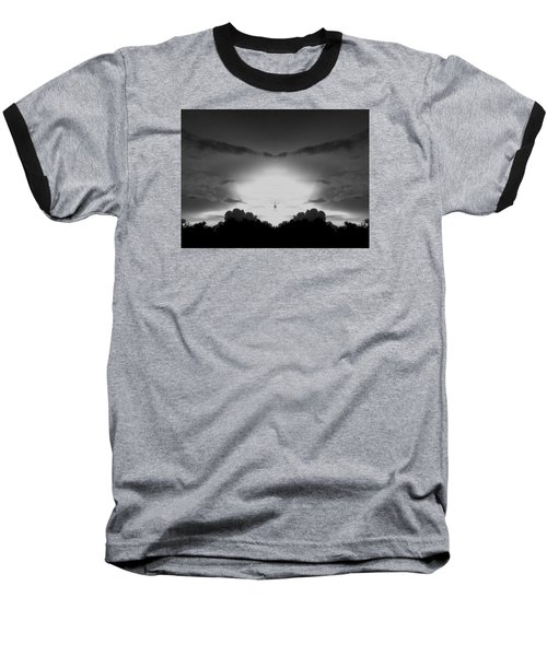 Helicopter And Stormy Sky Baseball T-Shirt by Belinda Lee