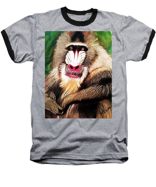 Baboon Stare Baseball T-Shirt by Renee Michelle Wenker