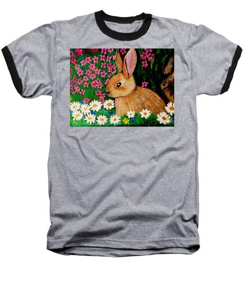 Baby Bunny In The Garden At Night Baseball T-Shirt