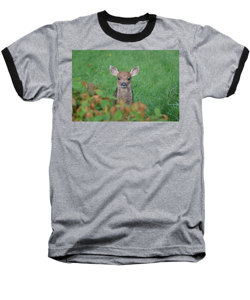 Baseball T-Shirt featuring the photograph Baby Fawn In Yard by Kym Backland