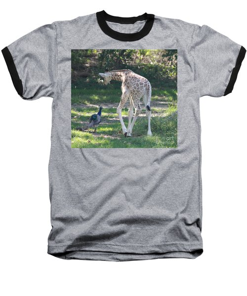 Baby Giraffe And Peacock Out For A Walk Baseball T-Shirt
