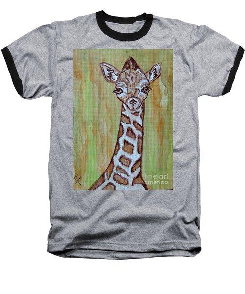 Baby Longneck Giraffe Baseball T-Shirt by Ella Kaye Dickey