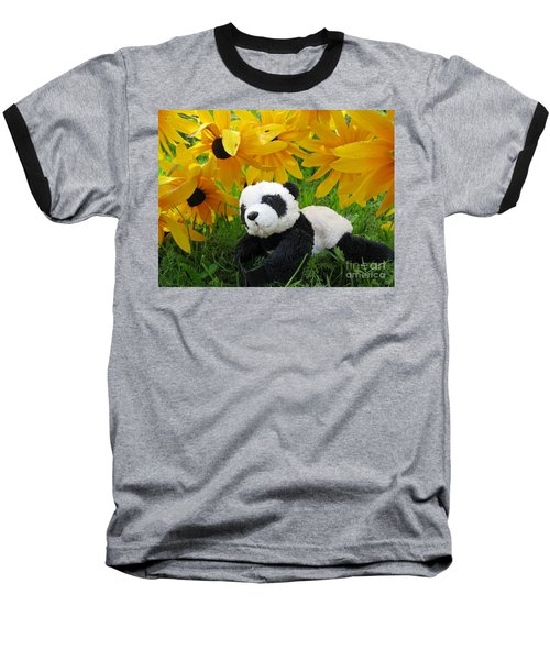 Baby Panda Under The Golden Sky Baseball T-Shirt