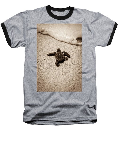 Baby Sea Turtle Baseball T-Shirt by Sebastian Musial