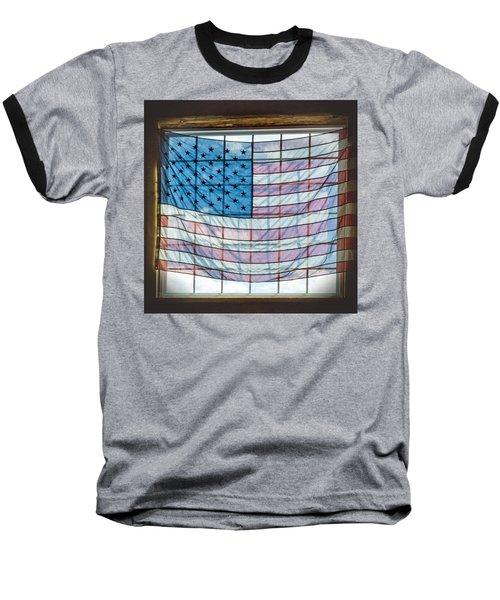 Backlit American Flag Baseball T-Shirt by Photographic Arts And Design Studio