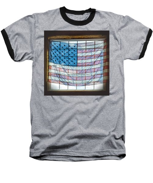 Backlit American Flag Baseball T-Shirt