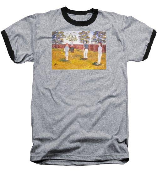 Baseball T-Shirt featuring the painting Backyard Cricket Under The Hot Australian Sun by Pamela  Meredith