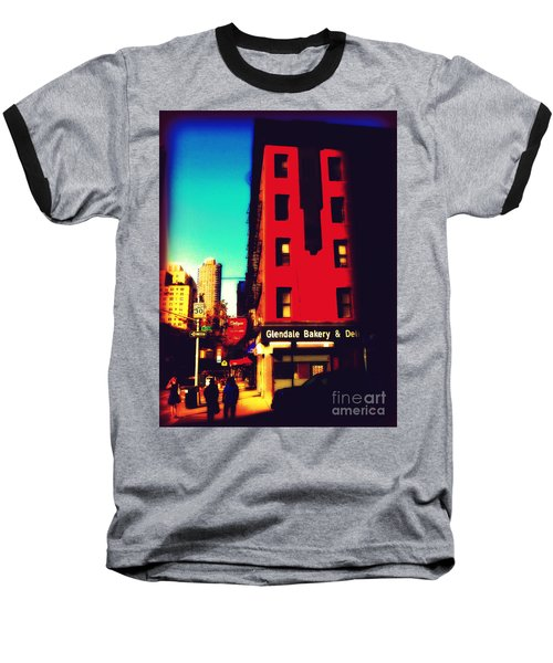 The Bakery - New York City Street Scene Baseball T-Shirt by Miriam Danar