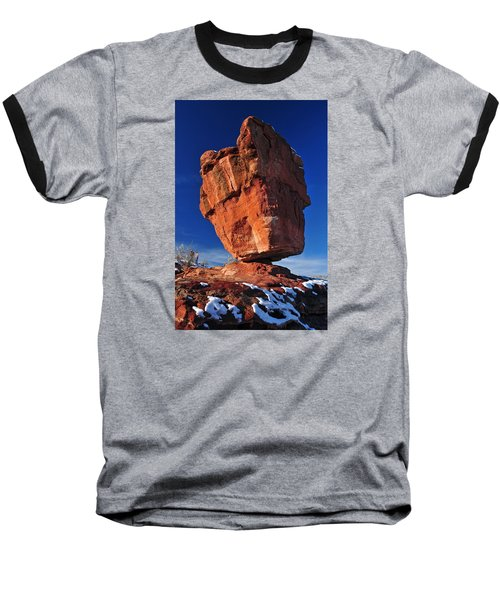 Balanced Rock At Garden Of The Gods With Snow Baseball T-Shirt by John Hoffman