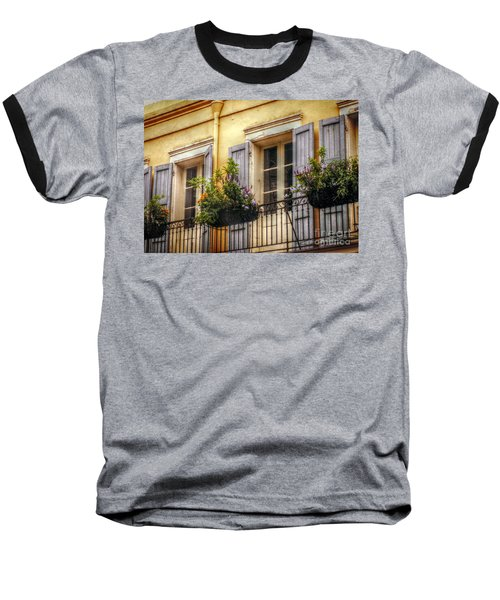French Quarter Balcony Baseball T-Shirt by Valerie Reeves