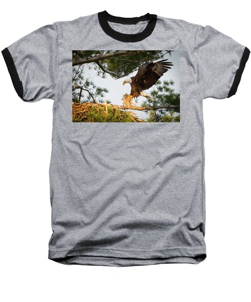 Bald Eagle Building Nest Baseball T-Shirt