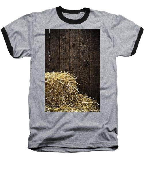 Bale Of Straw And Wooden Background Baseball T-Shirt