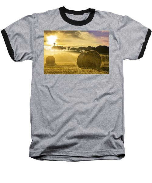 Bales In The Morning Mist Baseball T-Shirt