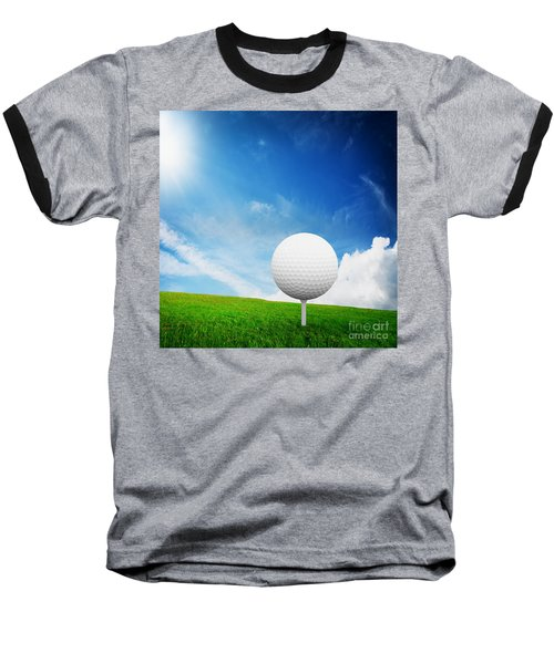 Ball On Tee On Green Golf Field Baseball T-Shirt