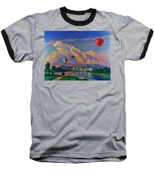 Baseball T-Shirt featuring the painting Ballooning On The Rio Grande by Art James West