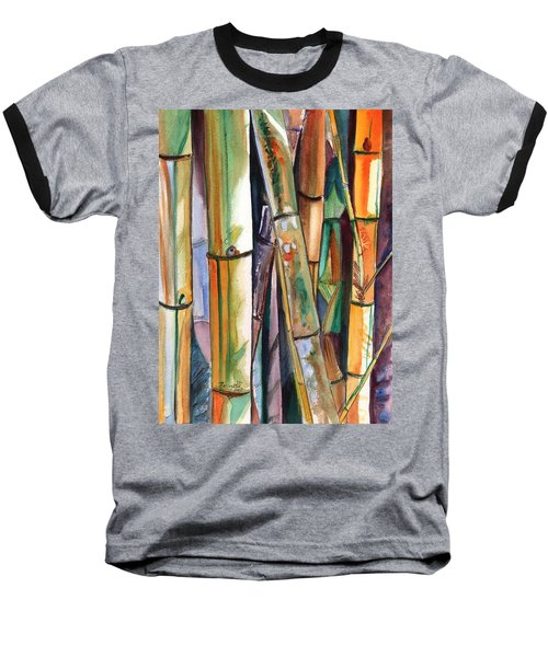 Baseball T-Shirt featuring the painting Bamboo Garden by Marionette Taboniar