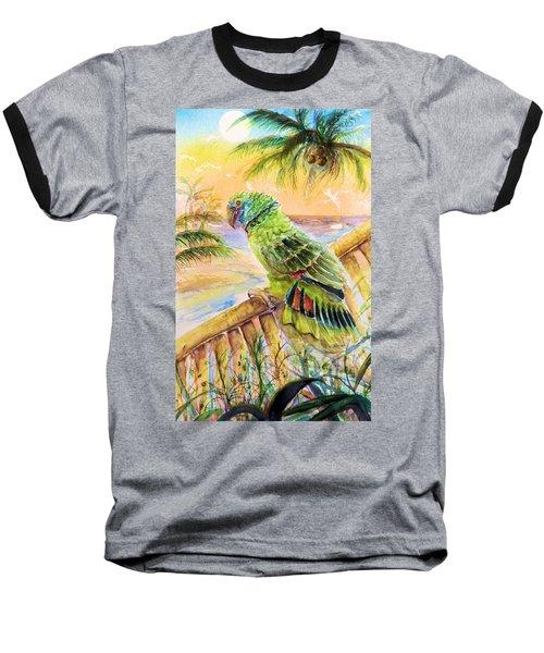 Banana Tree And Tropical Bird Baseball T-Shirt