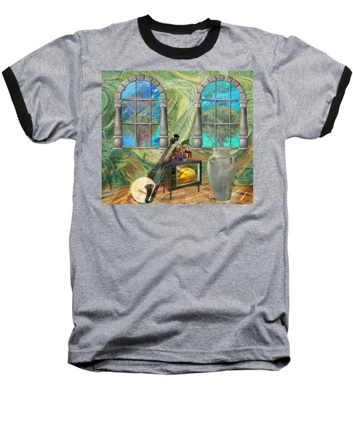 Baseball T-Shirt featuring the mixed media Banjo Room by Ally  White