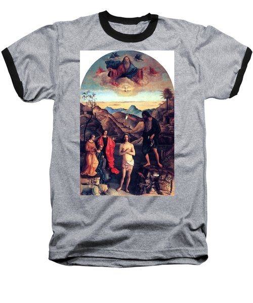 Baseball T-Shirt featuring the painting Baptism Of Christ With Saint John 1502 Giovanni Bellini by Karon Melillo DeVega