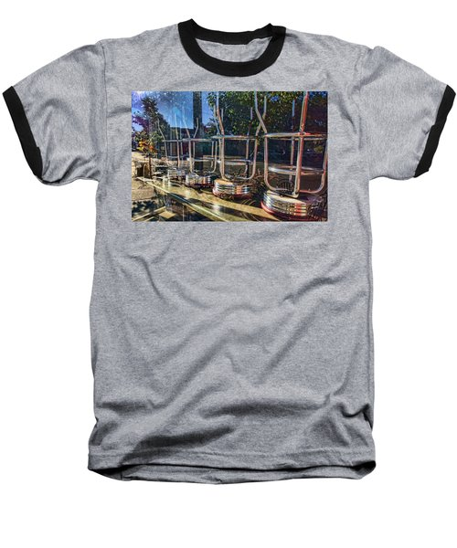 Bar Stools Up Baseball T-Shirt by Daniel Sheldon