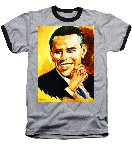 Baseball T-Shirt featuring the painting Barack Obama by Al Brown
