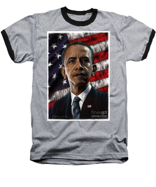 Barack Obama Baseball T-Shirt by Andre Koekemoer