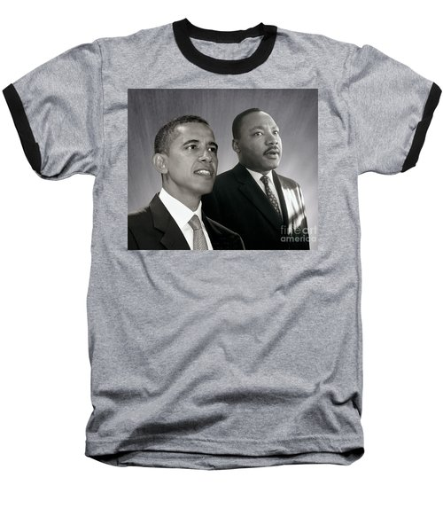 Baseball T-Shirt featuring the photograph Barack Obama  M L King  by Martin Konopacki Restoration