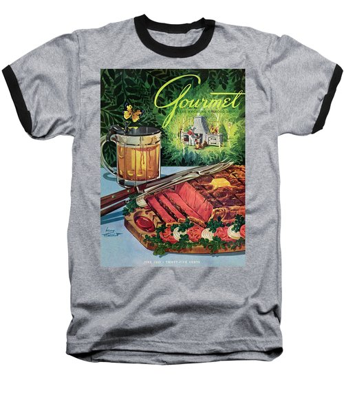 Barbeque Meat And A Mug Of Beer Baseball T-Shirt