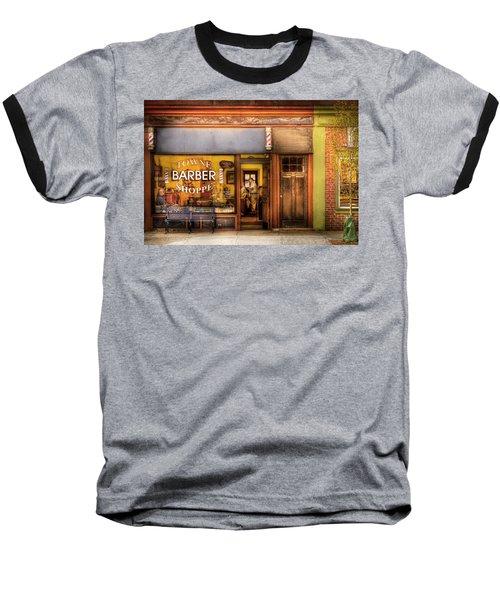 Barber - Towne Barber Shop Baseball T-Shirt by Mike Savad