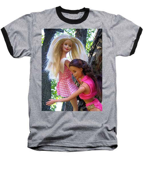 Baseball T-Shirt featuring the photograph Barbie's Climbing Trees by Nina Silver