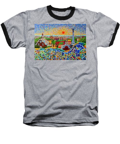 Barcelona View At Sunrise - Park Guell  Of Gaudi Baseball T-Shirt