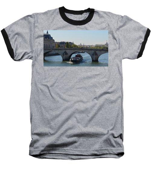 Barge On River Seine Baseball T-Shirt by Cheryl Miller