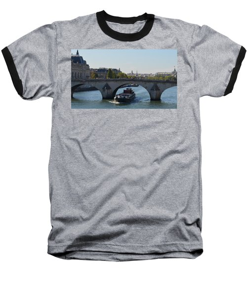 Barge On River Seine Baseball T-Shirt