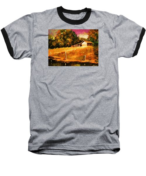 Baseball T-Shirt featuring the painting Barn Above The Creekbed by Al Brown