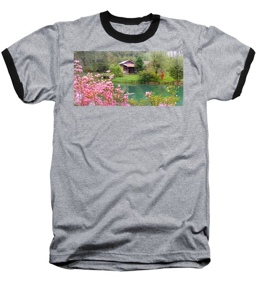 Barn And Flowers Near Pond Baseball T-Shirt