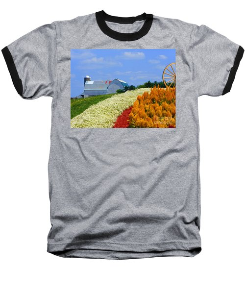 Barn And Quilt Garden Baseball T-Shirt by Tina M Wenger